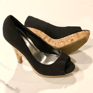 Bamboo Black Open Toe High Heel Shoes Size 7.5